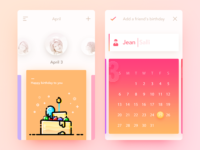 Birthday Card Concept by Dean Dribbble – App for Birthday Cards