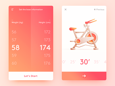 Fitness Data Record spinning set fitness illustration color orange simple clean ui ux app daily ui