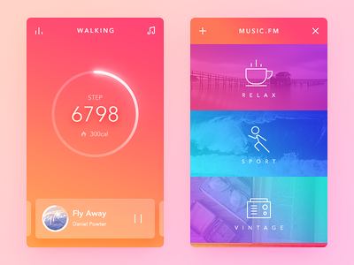 Walking Mode fm tracker walk redesign wechat color simple clean ui ux app daily ui