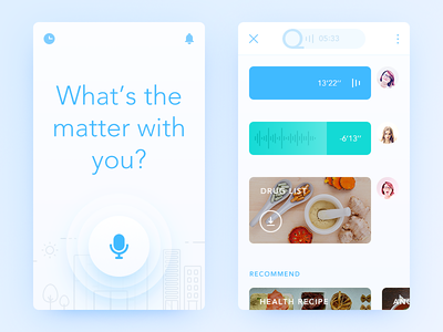 Ask a Doctor blue drug voice question doctor simple clean ui ux app daily ui