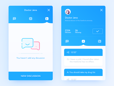 Doctor illustration discuss doctor color blue simple clean ui ux app daily ui