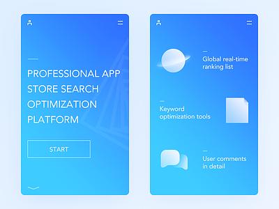 ASO Landing feature aso landing color blue simple clean ui ux app daily ui