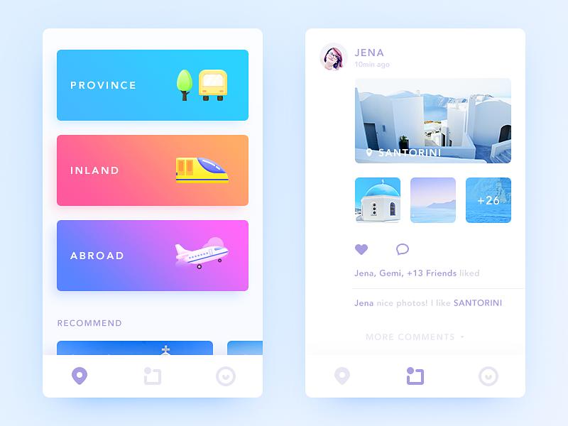 Trip find trip illustration card color simple clean ui ux app daily ui