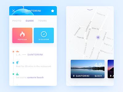 Trip Guide map guide trip card color simple clean ui ux app daily ui