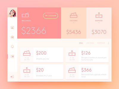 Wallet balance expend income wallet pink color simple clean ui ux app daily ui