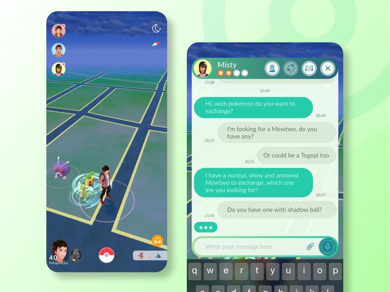 #DailyUI 013 - Direct Messaging design system new feature pokemon go pokemon chat dm direct messaging daily013 app dailychallenge behance ui figma dailyui
