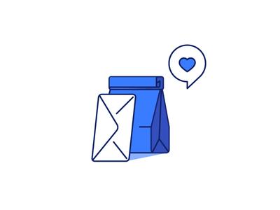 Love delivery line paper bag bag love love letter letter delivery