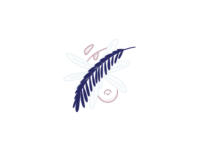"""Blueberry"" blue eyes plant minimal minimalist procreate illustraion"