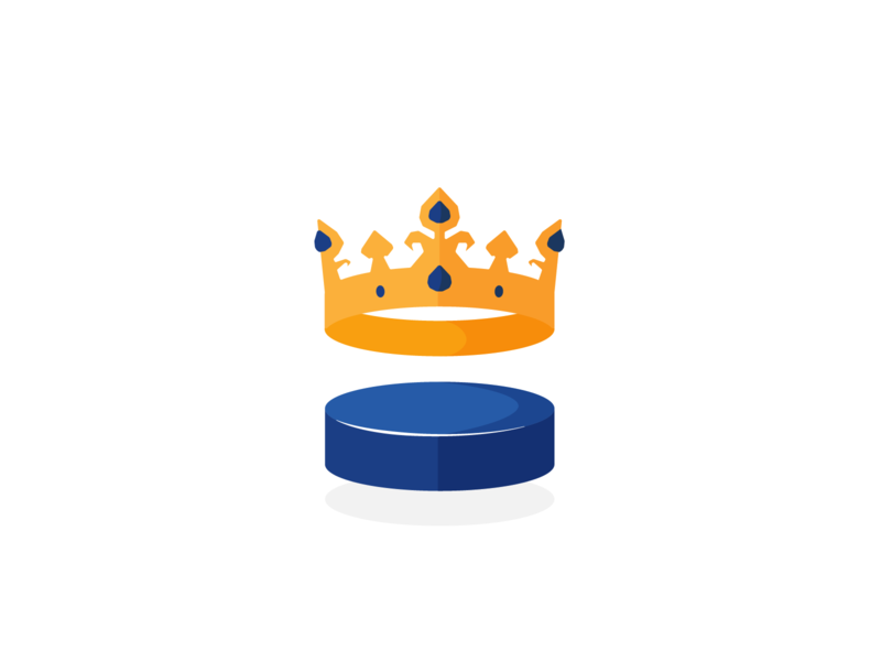 Royal ice hockey team design logo royal yellow blue illustraion crown kings hockey sports logo ice hockey
