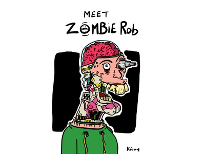 Meet Zombie Rob colorful android robot funny zombie procreate drawing