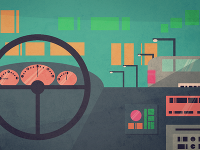 Driven illustration cars night lights driving