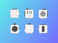 Fidget Cube flat icons v.2