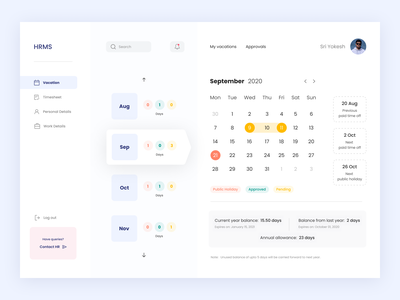 HRMS: Dashboard minimal employee cards product design design system saas overview data calendar analytics business solution web application enterprise timesheet hr software human resource ux ui hrms dashboard
