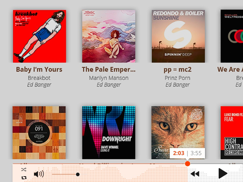 Music player Pulselocker user interface pulselocker interface website player music