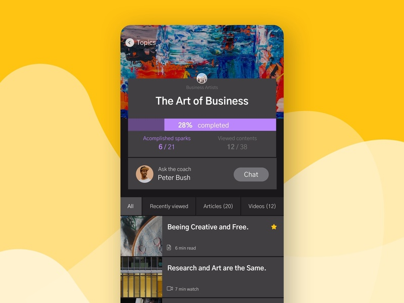Intao Dark UI Topics Art list view interface graphic design ui design uiux ux ios mobile progressbar artwork yellow dark mode dark theme dark ui app ui clean black dark art