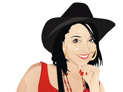 Deea By Dccanim deea draghia cornel dccanim portrait girl red vector hat cowgirl look smille