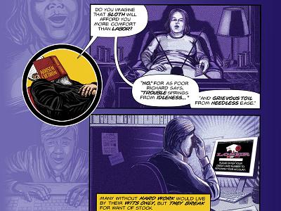 Benjamin Franklin's The Way To Wealth – p. 26 book cover adobe illustrator line art american history benjamin franklin success comics graphic novel