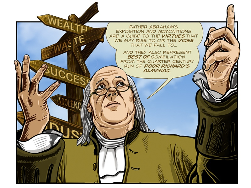 Benjamin Franklin's The Way To Wealth: Intro – p. 10 success illustration graphic novel comics benjamin franklin american history adobe photoshop adobe illustrator