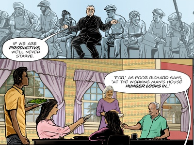 Benjamin Franklin's The Way To Wealth – p. 19 adobe photoshop benjamin franklin adobe illustrator success graphic novel comics american history illustration