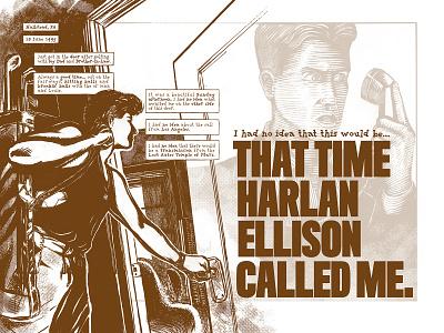 That time Harlan Ellison called me. p. 1–2 graphic novel procreate app line art comics autobio comix