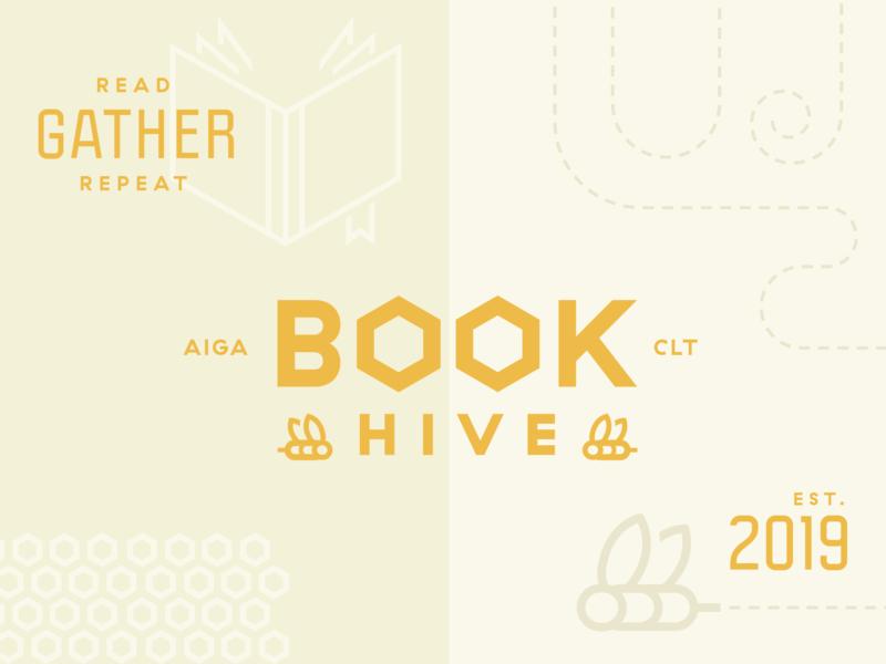 BookHive branding design book club aiga beehive bee hive book logo brand illustration branding