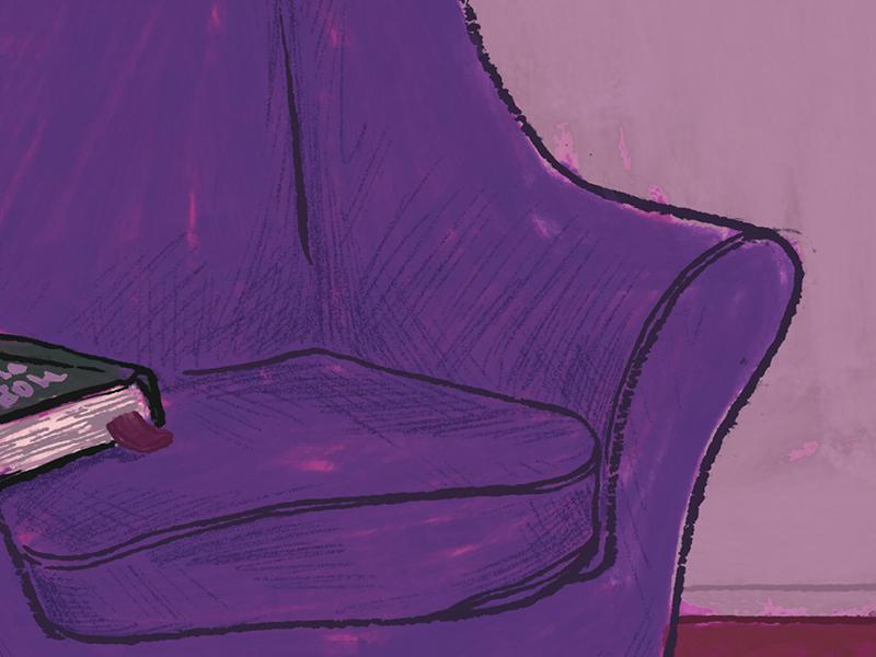 Reading Chair Purple Wip Ilration