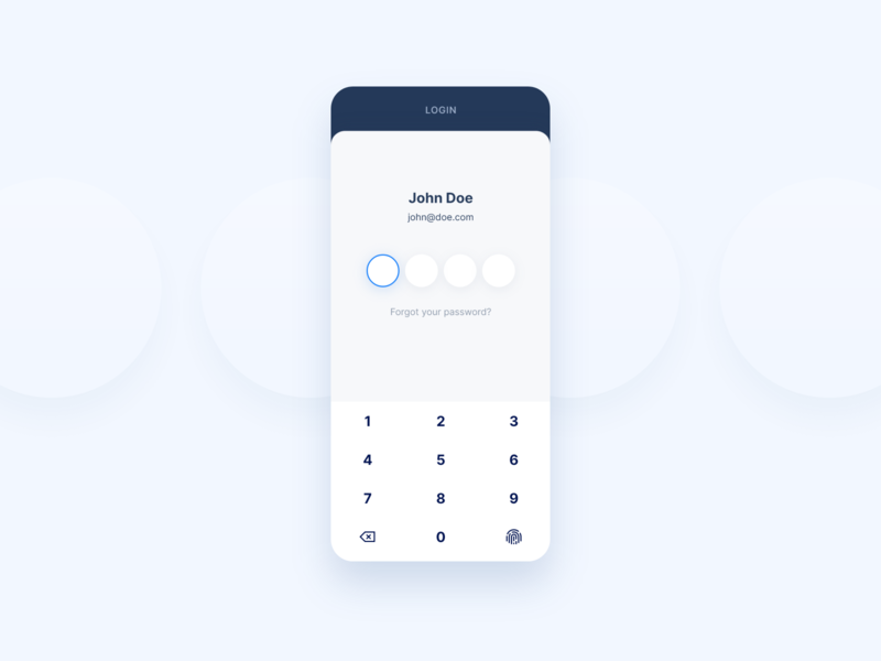 Login screen for shipping app light contrast mobile simplicity minimal sign in shipping product user ux ui digital clean app simple fingerprint numpad login password