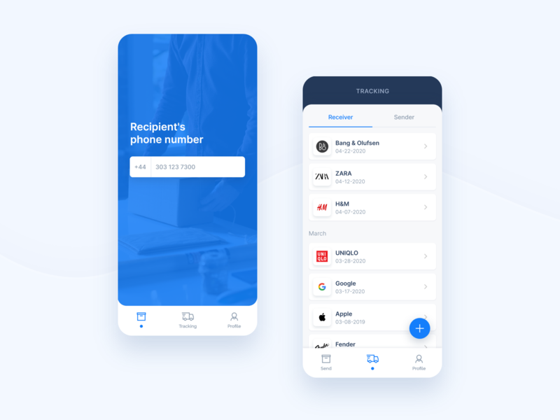 Shipping app screens detail product design mobile ui application simplicity identity branding navigation list tracking mobile shipping ios digital ux ui neutral simple clean app