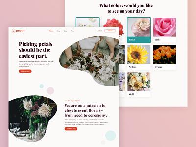 Poppy - Landing Page & Style Quiz product design weddings floral design app web typography ux ui design