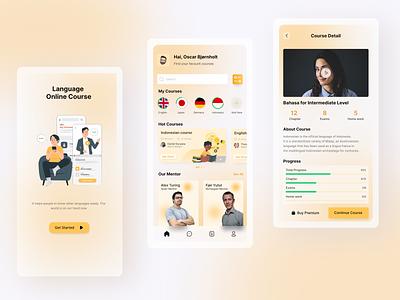 Language Online Learning Apps app ui minimal ux design