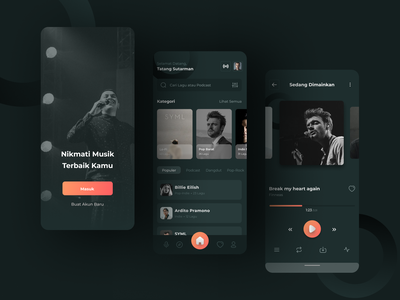Music & Podcast Streamer Apps uiapps figma uiuxdesign mobile uiux app minimal ux design ui
