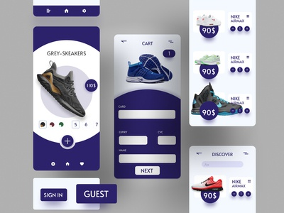 E-commerce Store Mobile App UI purple dark ui shoe addidas nike store ecommerce illustration typography color ux ui flat app minimal design