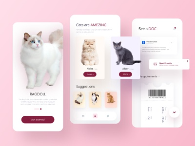 Adopt a CAT!! virtual meeting e shop color doctor cat adoption petshop pet drop shadow app ux ui flat minimal design