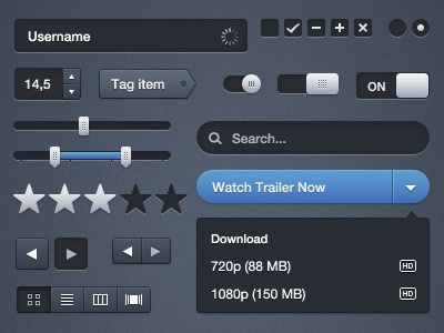 Moonify UI ui blue buttons fields search kit