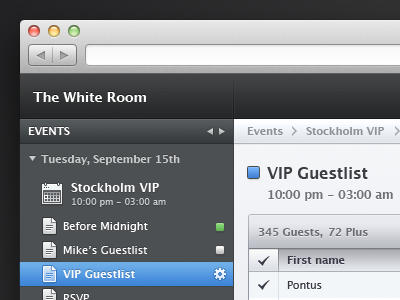 Event webapp ui webapp interface blue white grey dark no linen