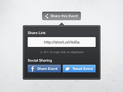 Share Event widget share facebook twitter blue dark event copy