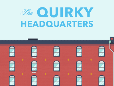 The Quirky Headquarters illustration line art skyline building brick office
