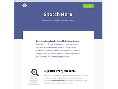 Sketch Hero sketch bohemian coding ebook landing page features coming soon