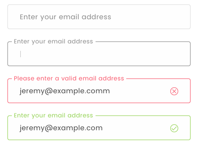 Form Components label text components valid failure success validation email form