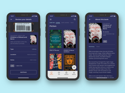 Dexter Library App app design ux organization sketch ui reading books