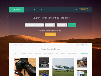 Rentinue Landing Page Concept landing page web app home page rentinue mike busby search