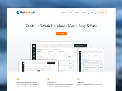 The Rehab Lab Marketing Site landing page clean marketing site mike busby web design app design minimalistic design