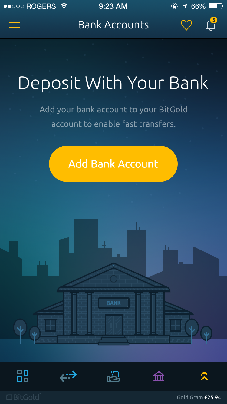Bitgold mobile app   bank accounts