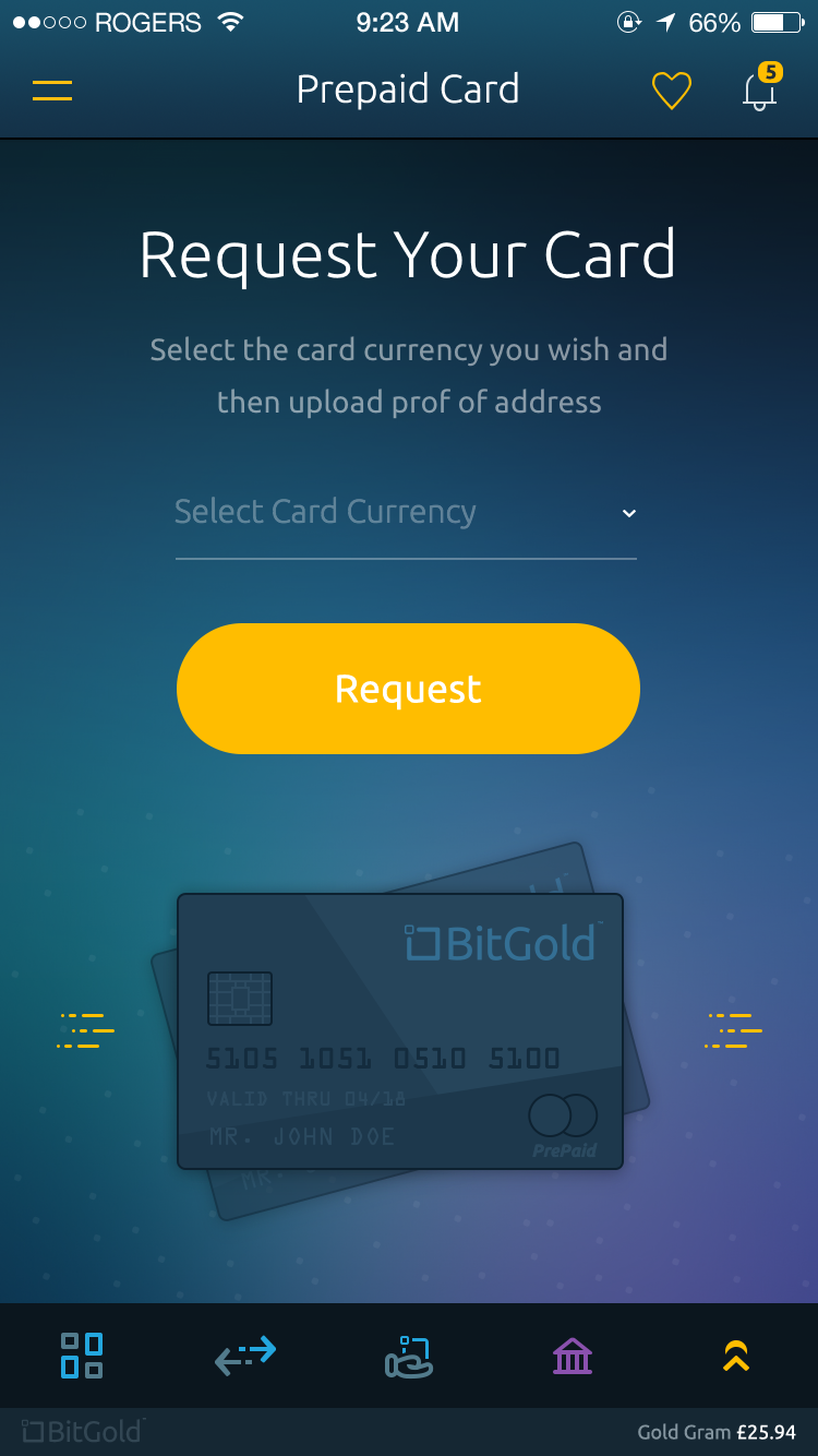 Bitgold mobile app   pre paid card