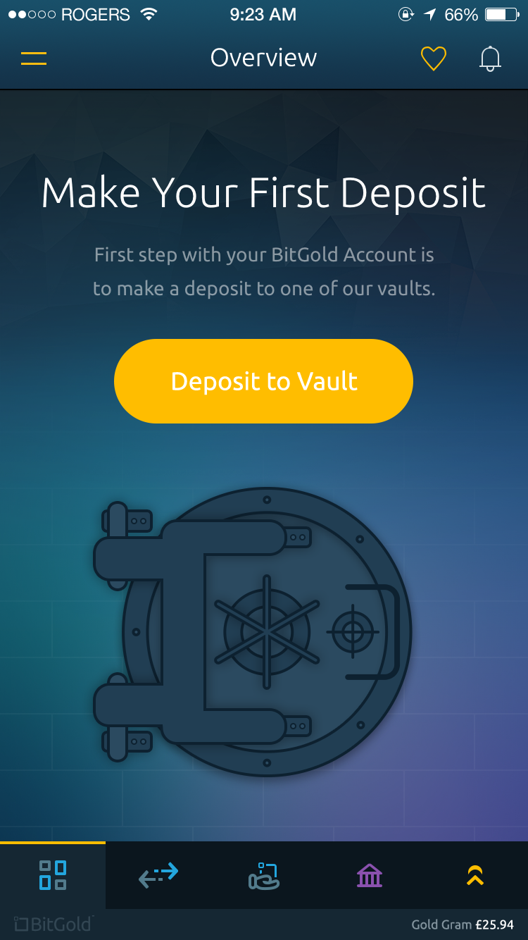 Bitgold mobile app   no vault