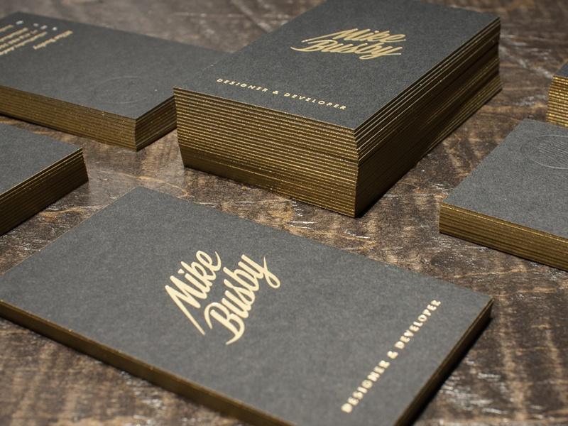Mike Busby Business Cards mike busby gold foil print design card design business cards