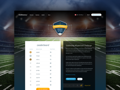 #SuperGold Challege Landing Page competition sports superbowl football web design landing page fintech goldmoney