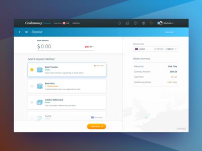 Goldmoney Deposit Flow interface design ui design mike busby goldmoney deposit dashboard web application web app design app design
