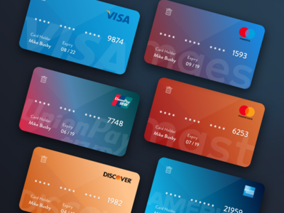 Colorful Credit Card Templates card design ui design mike busby fin tech payments debit card credit card credit cards