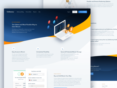 Goldmoney - Buy & Sell Bitcoin Marketing Page Design litecoin bit coin buy bitcoin cryptocurrency bitcoin mike busby fin tech goldmoney site design landing page web design marketing page